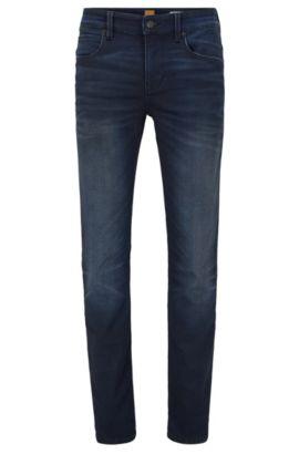 Slim-fit jeans van gebreid denim, Donkerblauw