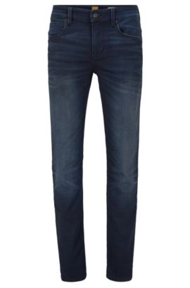 Slim-fit jeans in knitted denim, Dark Blue