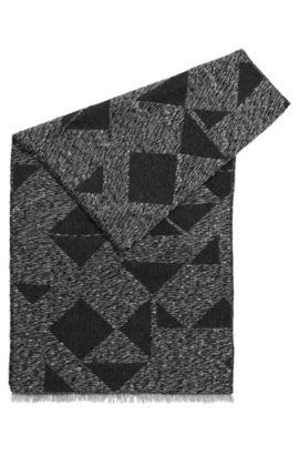 Schal aus Woll-Mix mit Modal, Mohair und Paillettengarn, Schwarz