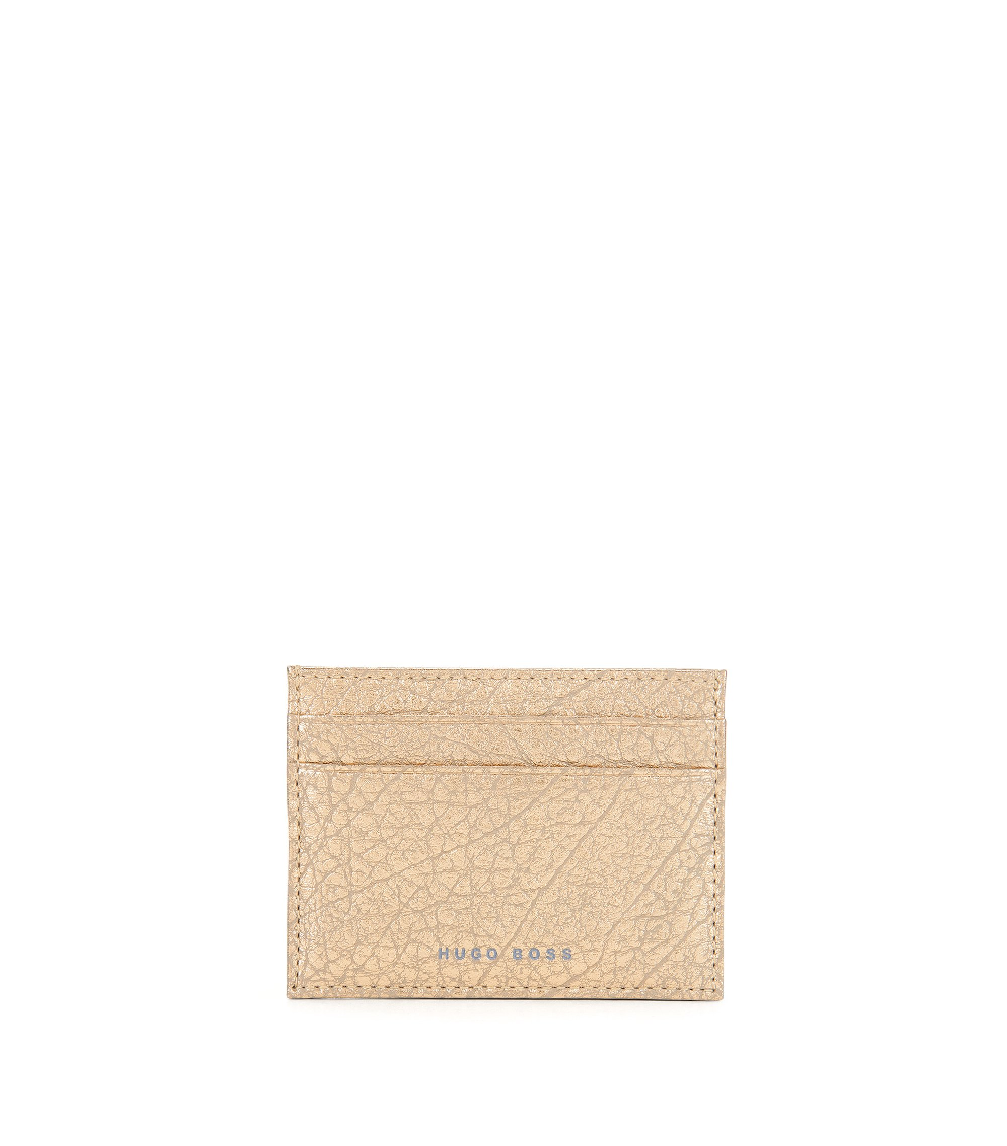 BOSS Bespoke Soft card holder in golden grained leather, Gold