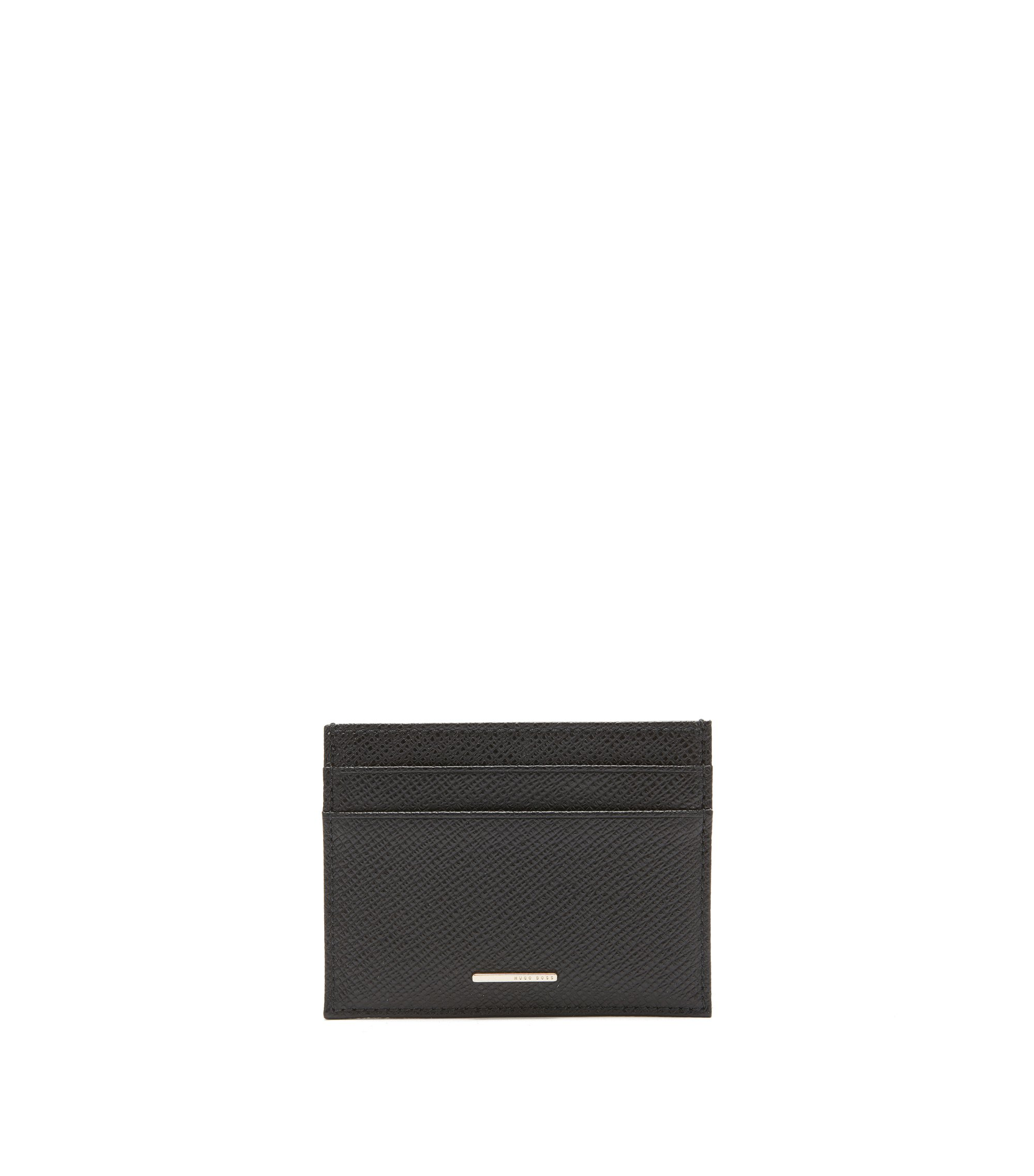 BOSS Luxury Staple card holder in leather, Black