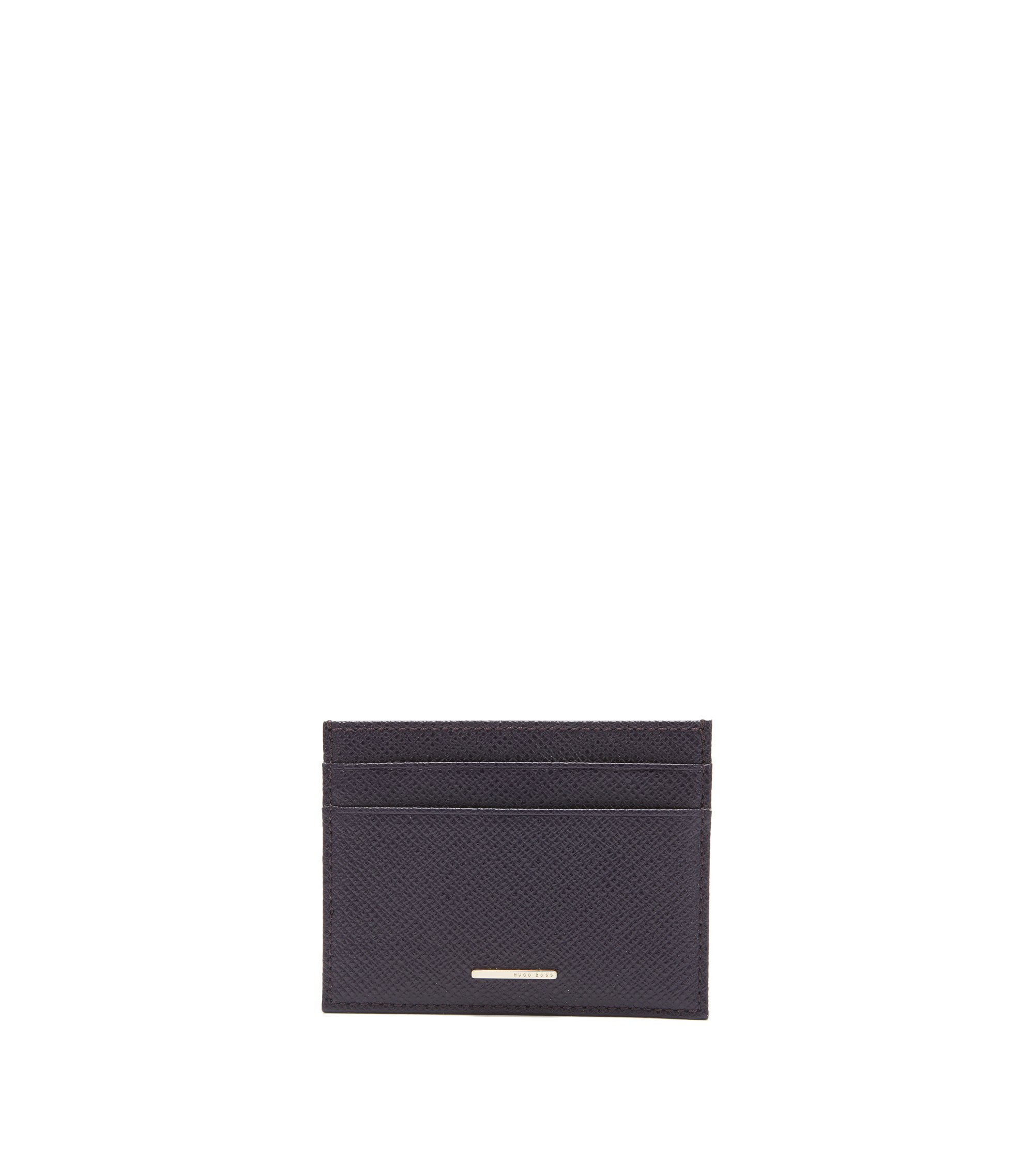 BOSS Luxury Staple card holder in leather, Dark Purple