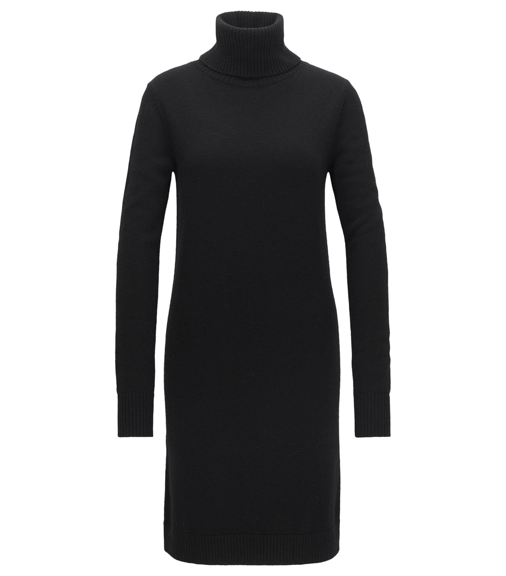 Kleid aus Single Jersey mit Rollkragen, Schwarz