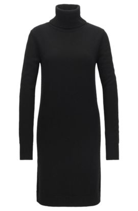 Roll-neck sweater dress in single jersey, Black