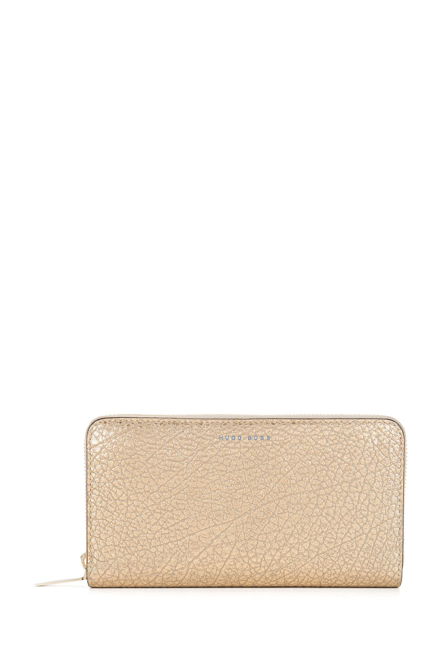 BOSS Bespoke Soft zip-around wallet in metallic grained leather