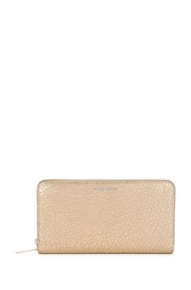 BOSS Bespoke Soft zip-around wallet in metallic grained leather, Gold