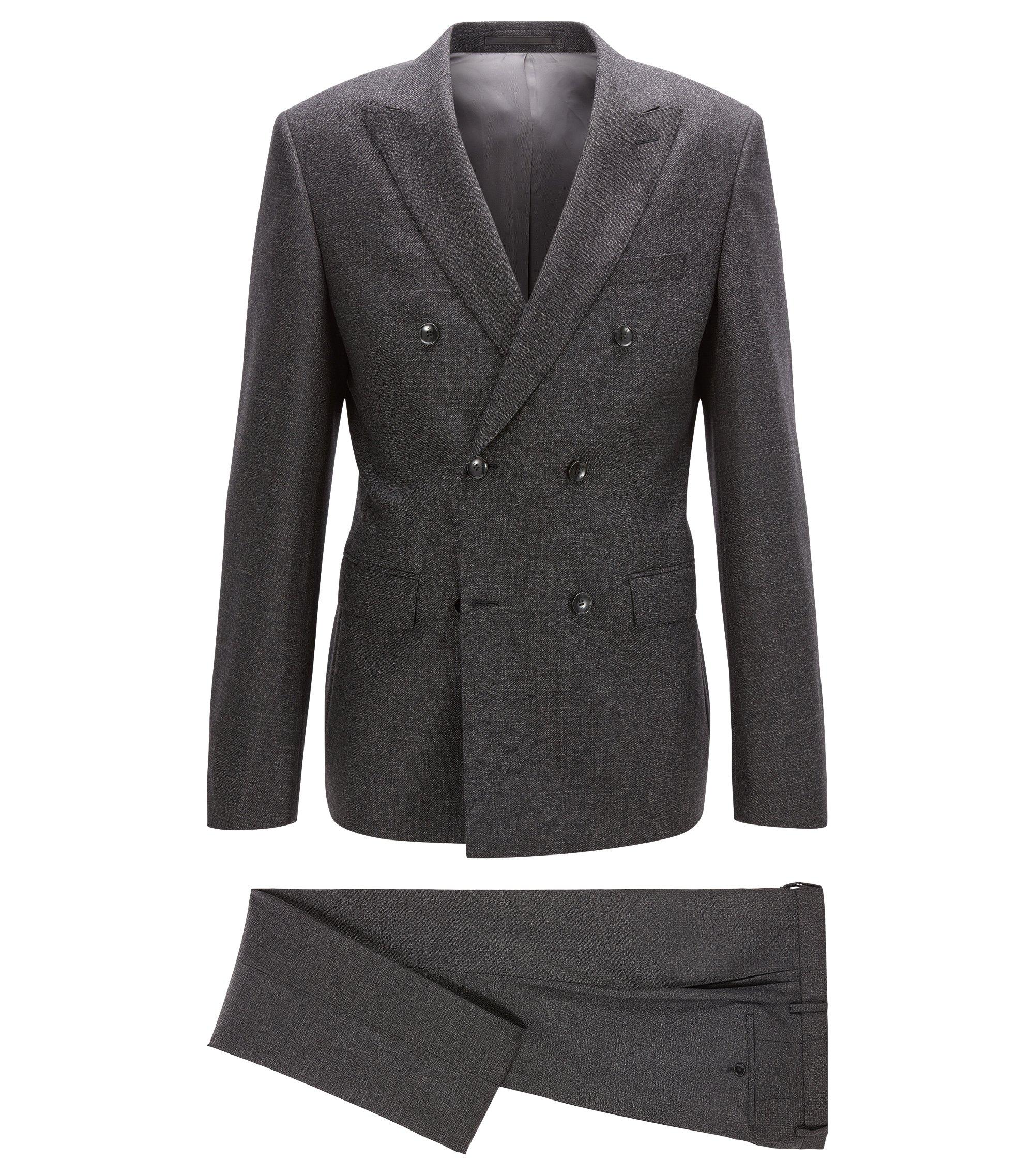 Slim-fit kostuum van een gemêleerde wolmix met twee rijen knopen, Donkelgrijs