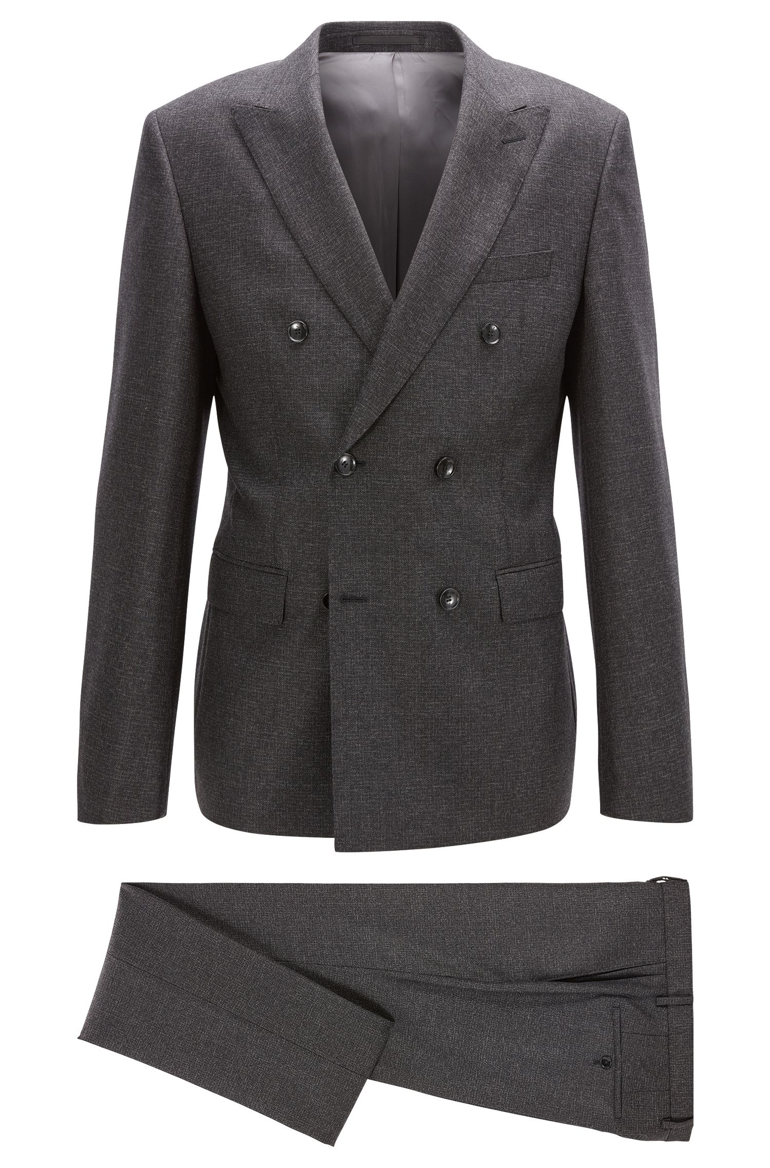 Double-breasted slim-fit suit in a melange wool blend