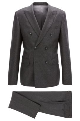 Double-breasted slim-fit suit in a melange wool blend, Dark Grey