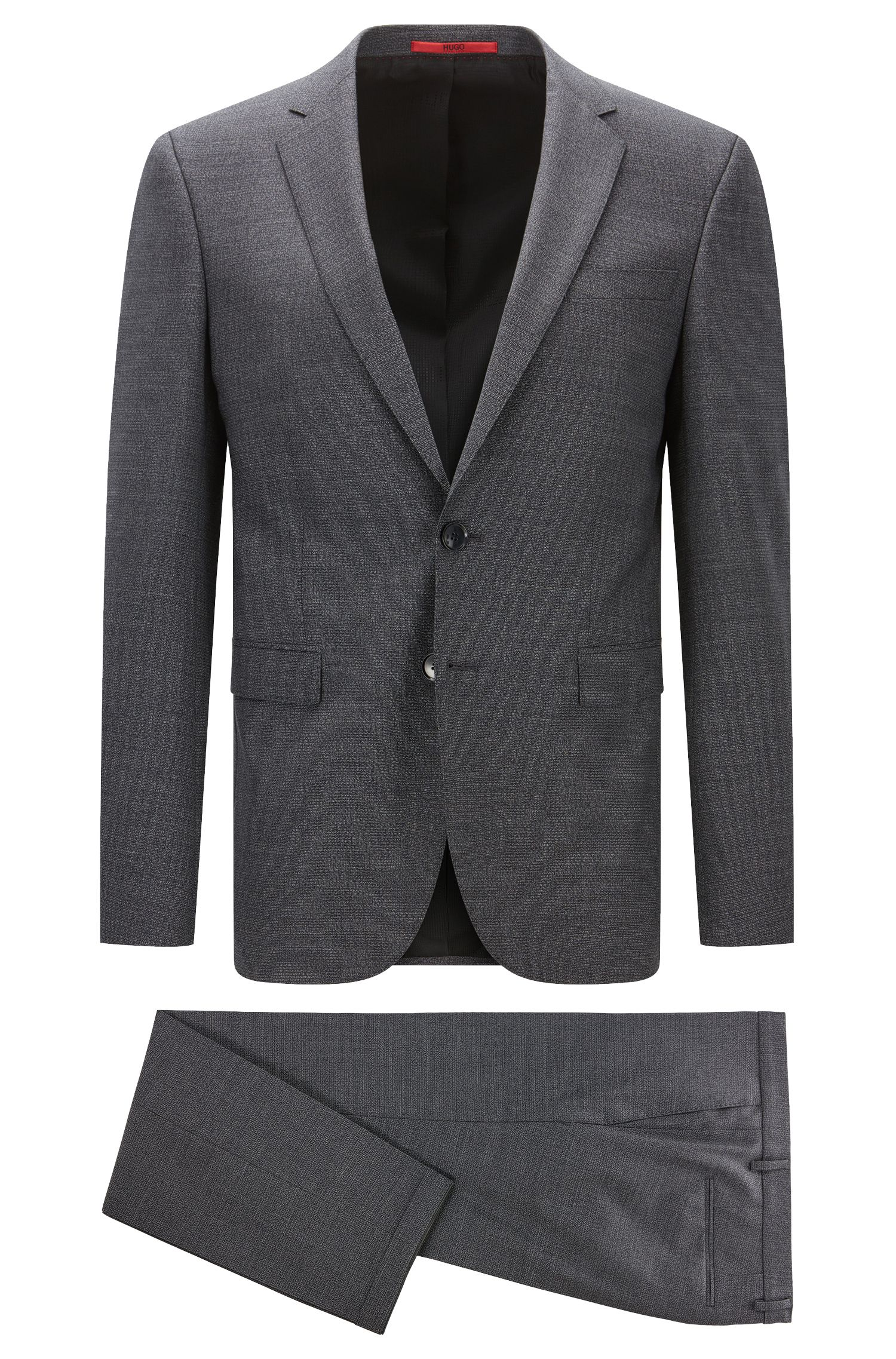 Extra-slim-fit suit in two-tone stretch virgin wool