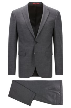 Extra-slim-fit suit in two-tone stretch virgin wool, Grey