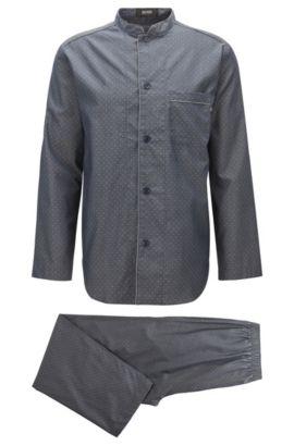 Pyjama à col mao en coton doux, Bleu foncé