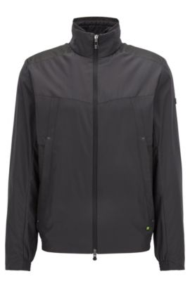 Veste Regular Fit compacte en tissu technique, Noir