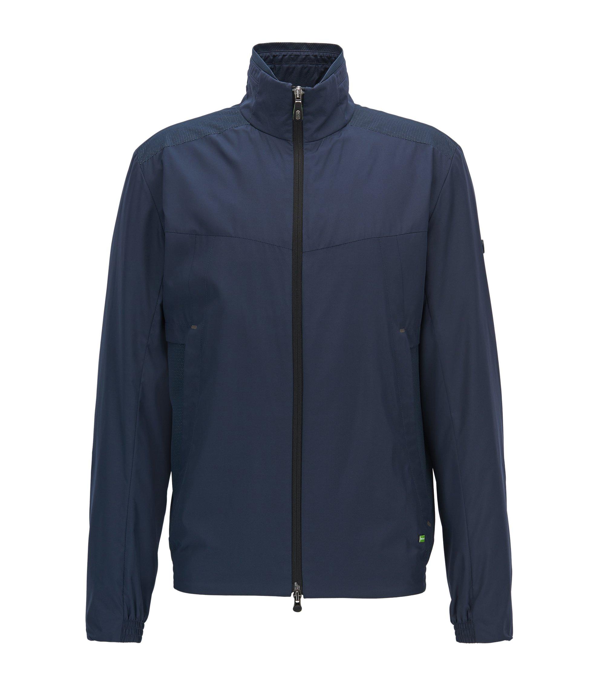 Verstaubare Regular-Fit Jacke aus Material-Mix, Dunkelblau