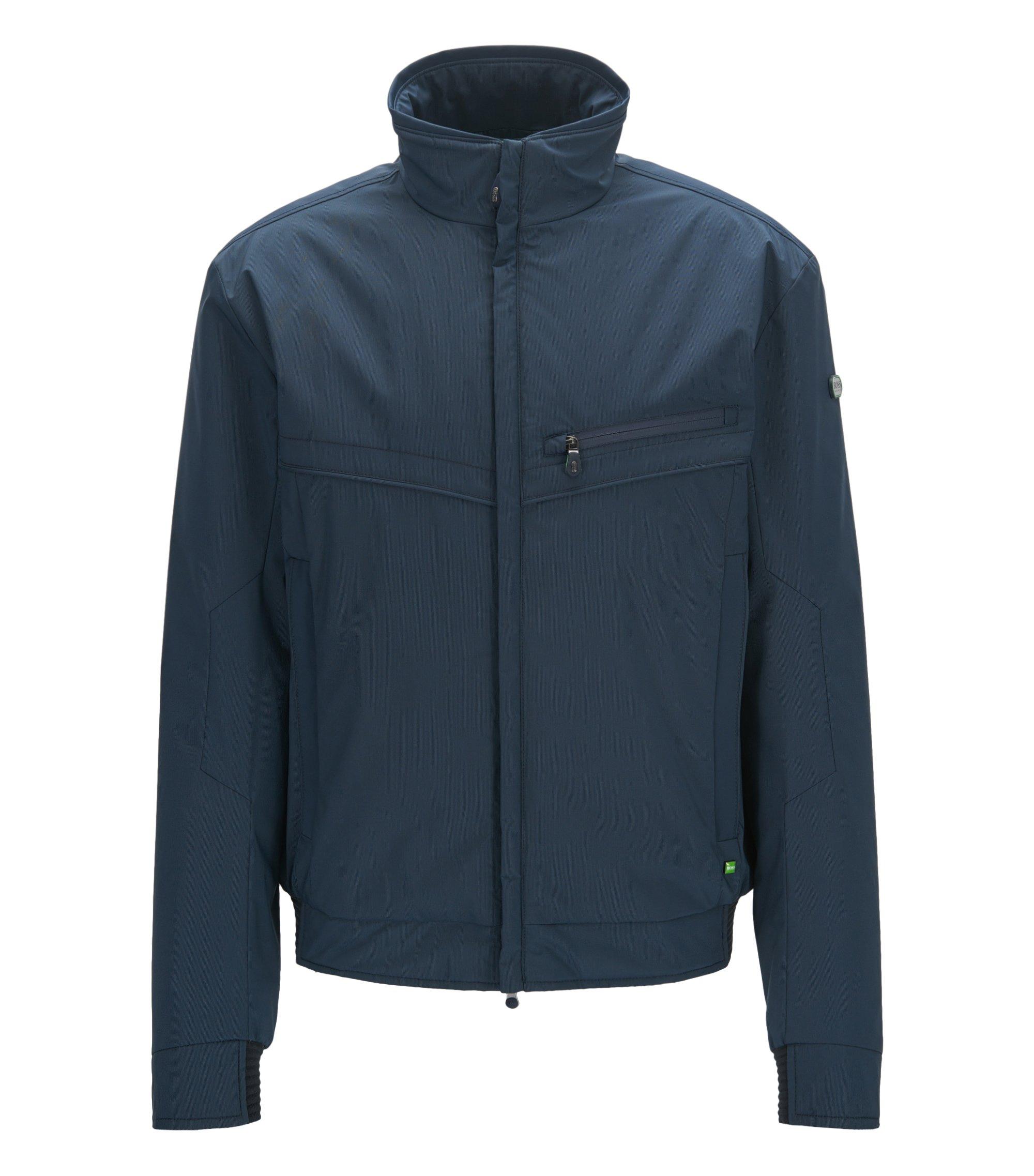 Regular-Fit Jacke aus wasserabweisendem Material-Mix, Dunkelblau