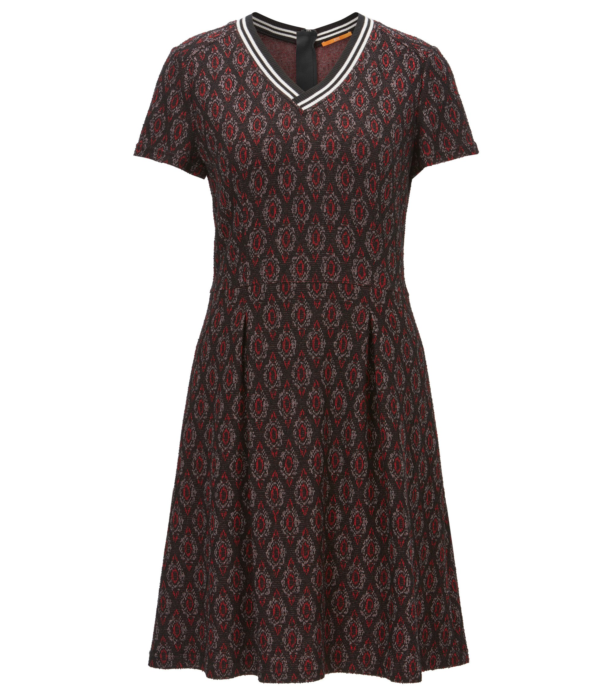 Waisted dress in jacquard jersey, Patterned