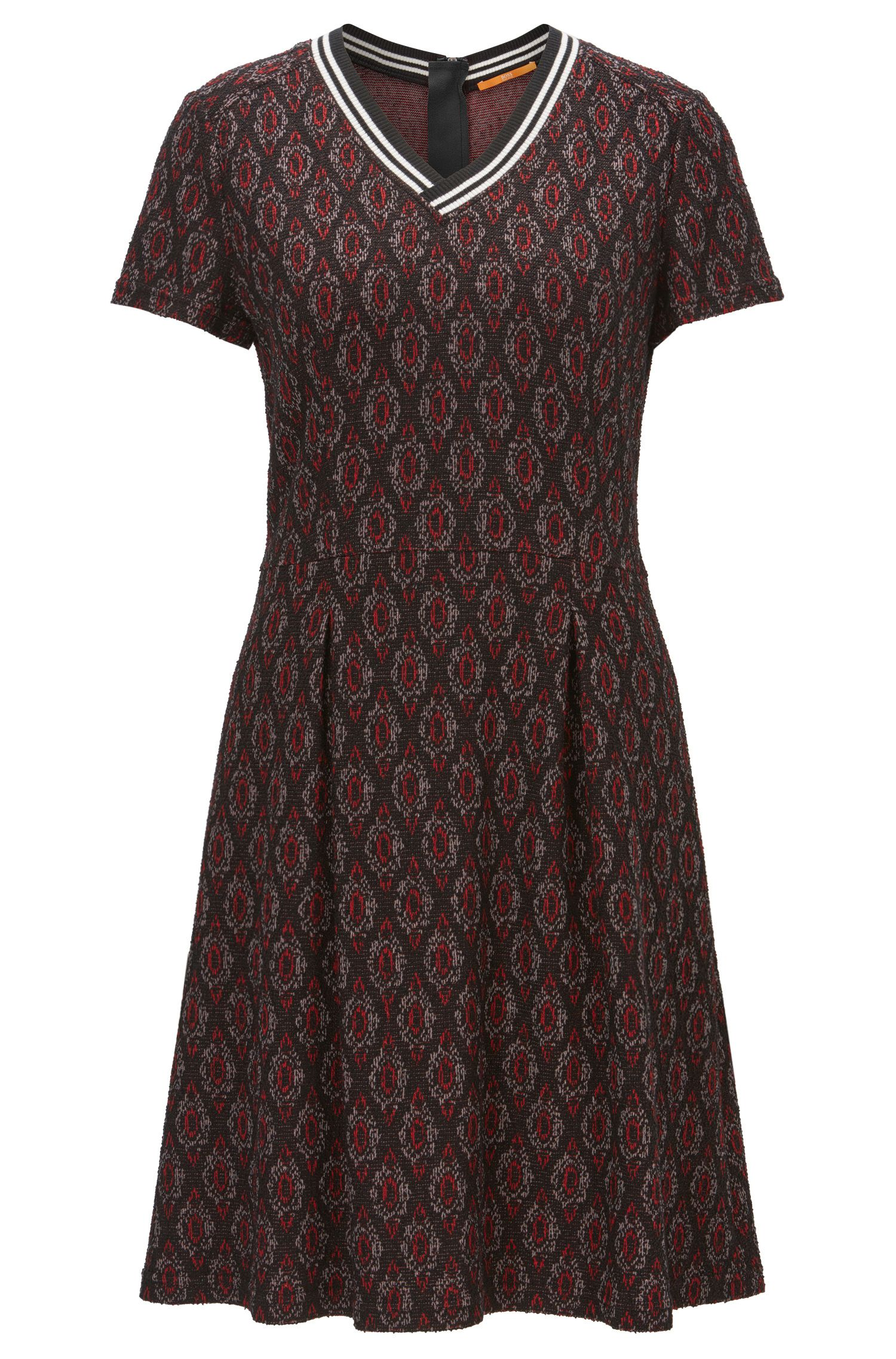 Waisted dress in jacquard jersey