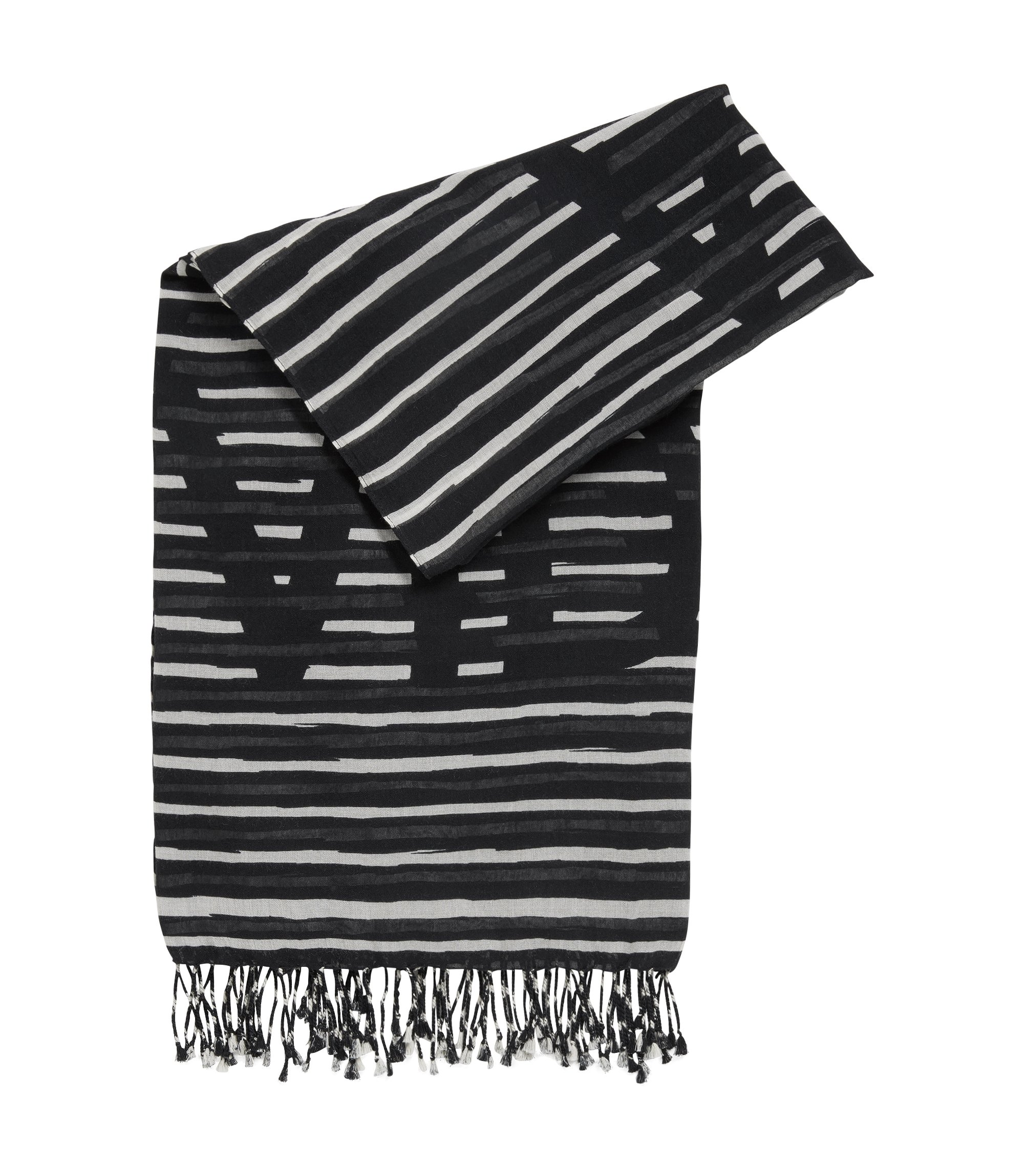 Striped slogan scarf in a cotton blend, Black