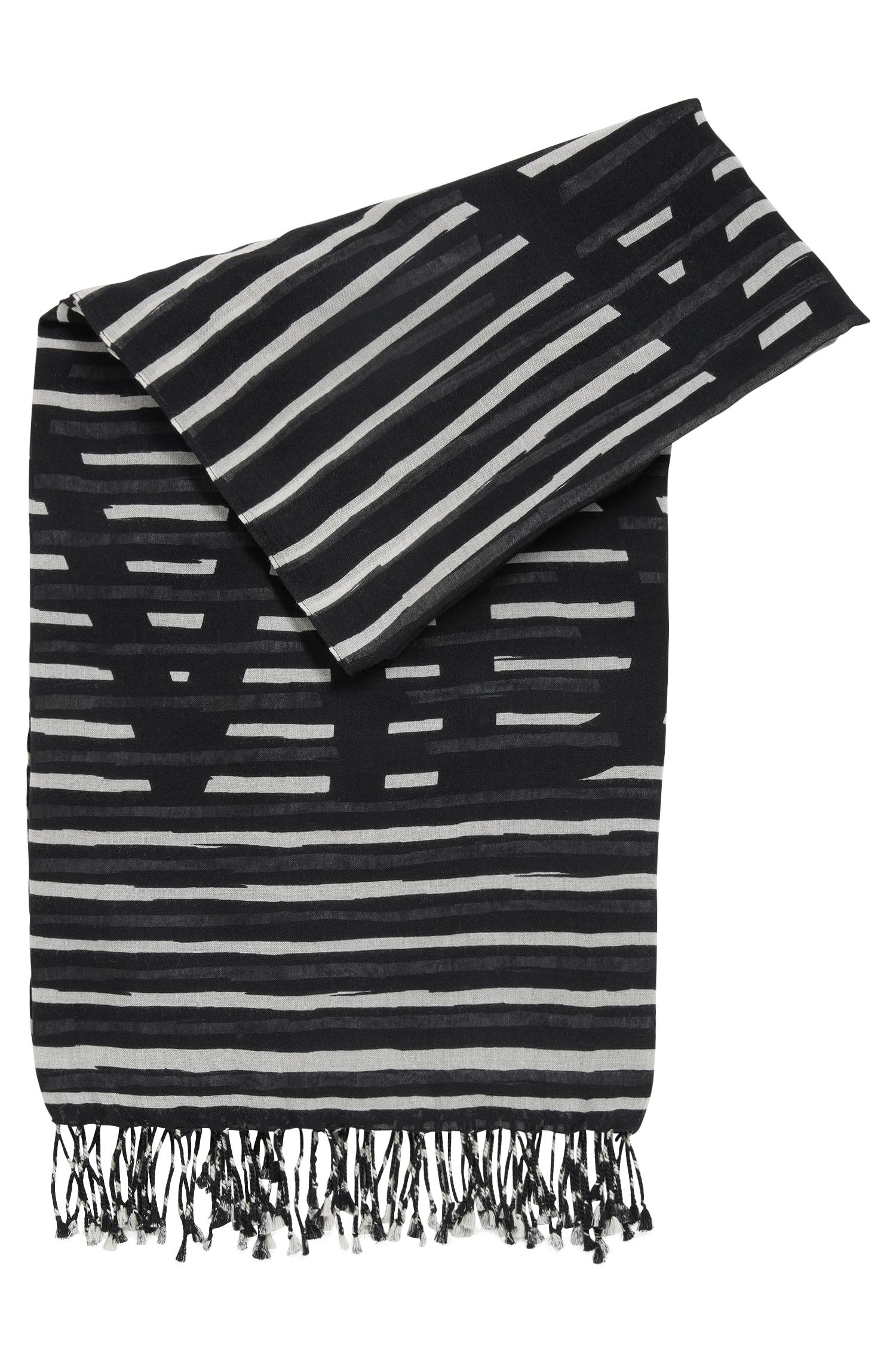 Striped slogan scarf in a cotton blend