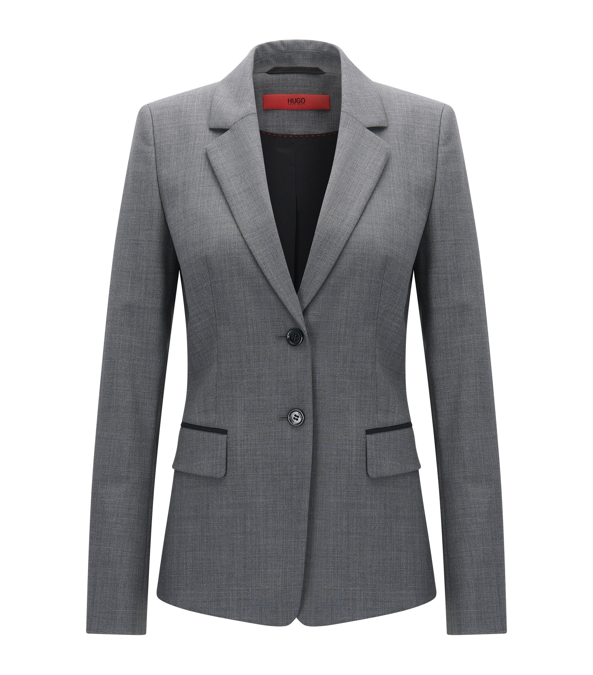 Regular-fit jacket in stretch virgin wool, Grey
