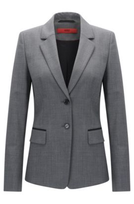 Regular-fit jacket in stretch virgin wool, Gris