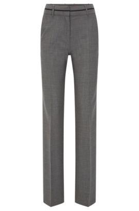 Regular-Fit Hose aus elastischer Schurwolle, Grau