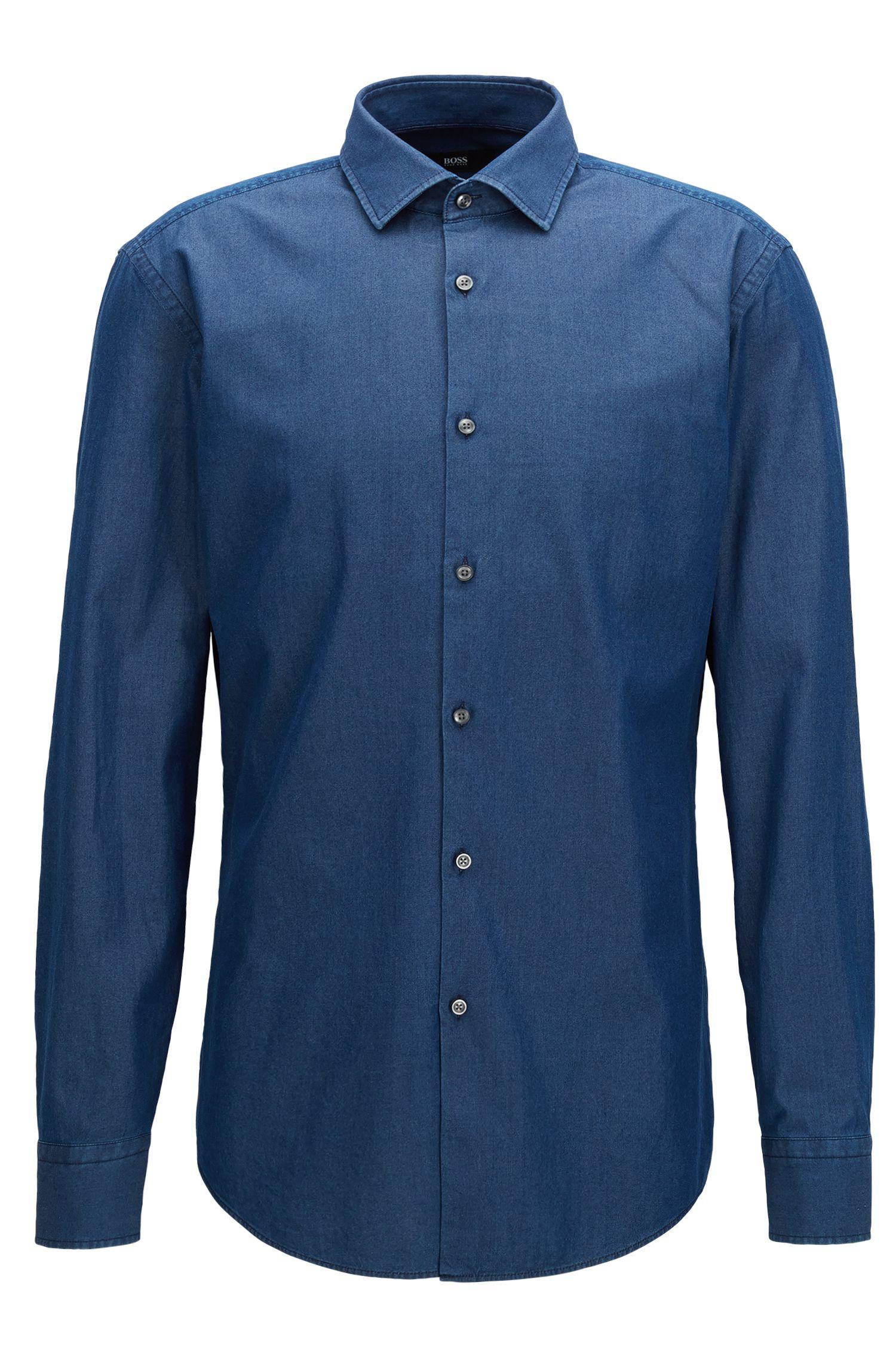 Slim-fit overhemd in een twill van indigodenim