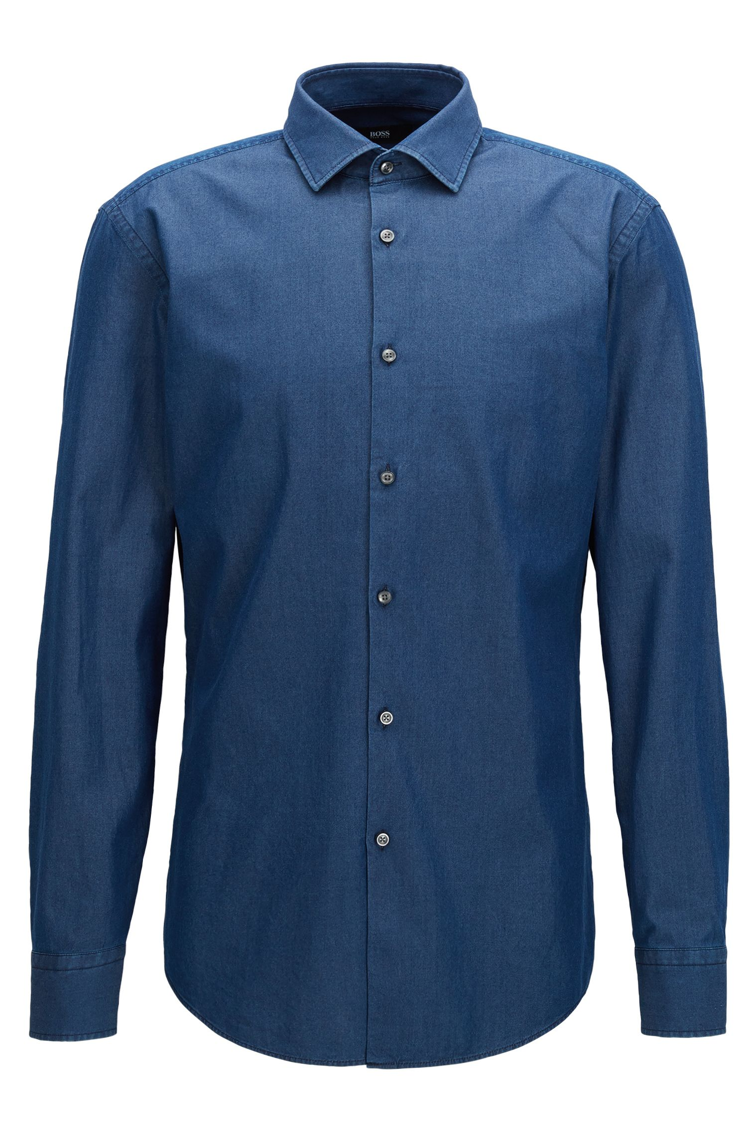 Camicia slim fit in twill di denim indaco