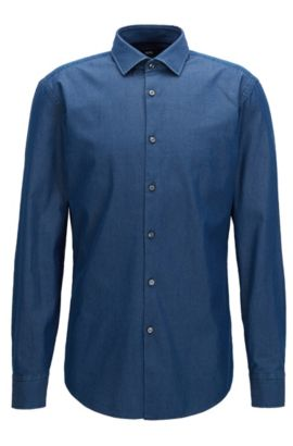 Camicia slim fit in twill di denim indaco, Celeste