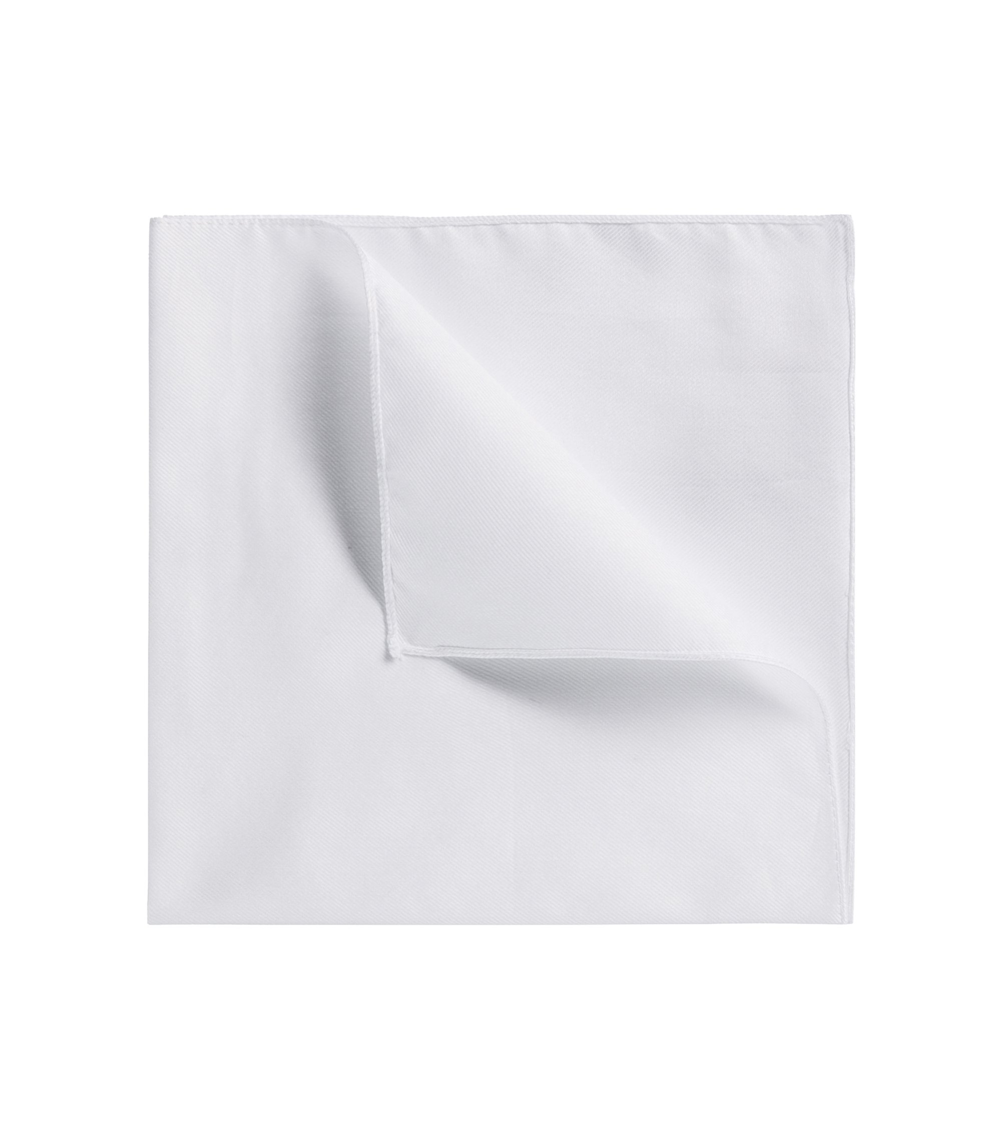 Plain cotton pocket square, White