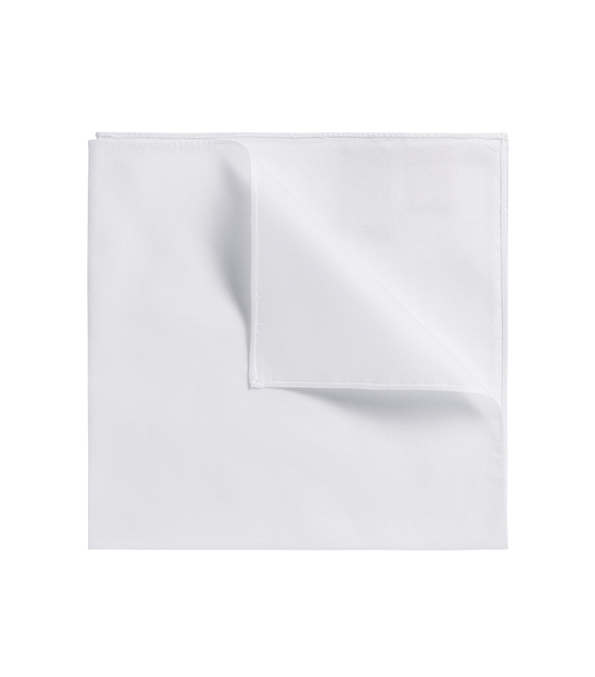 Pocket square in pure cotton, Open White