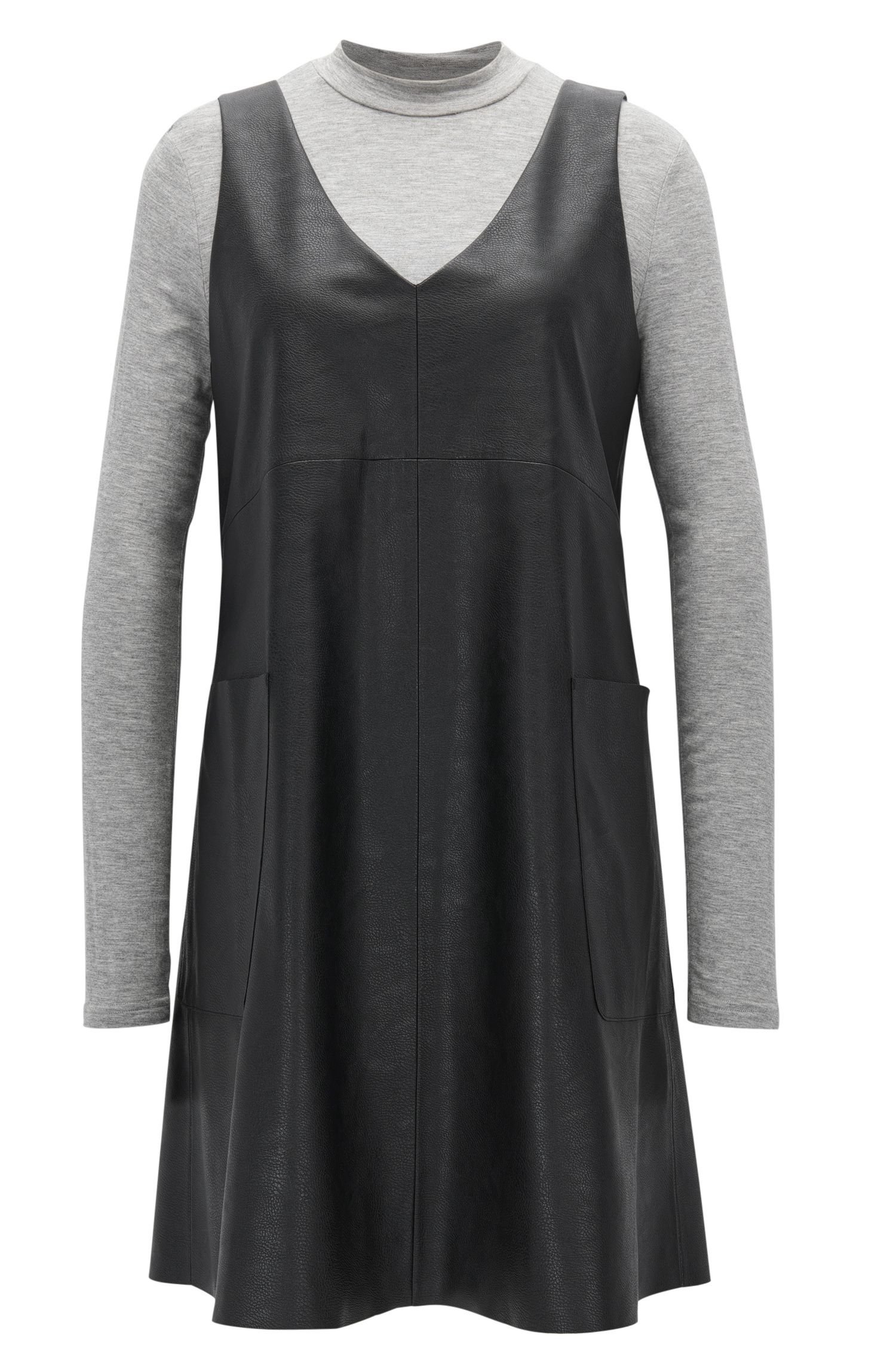 2-in-1-Kleid aus Kunstleder