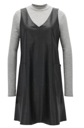Two-in-one dress in faux leather, Black