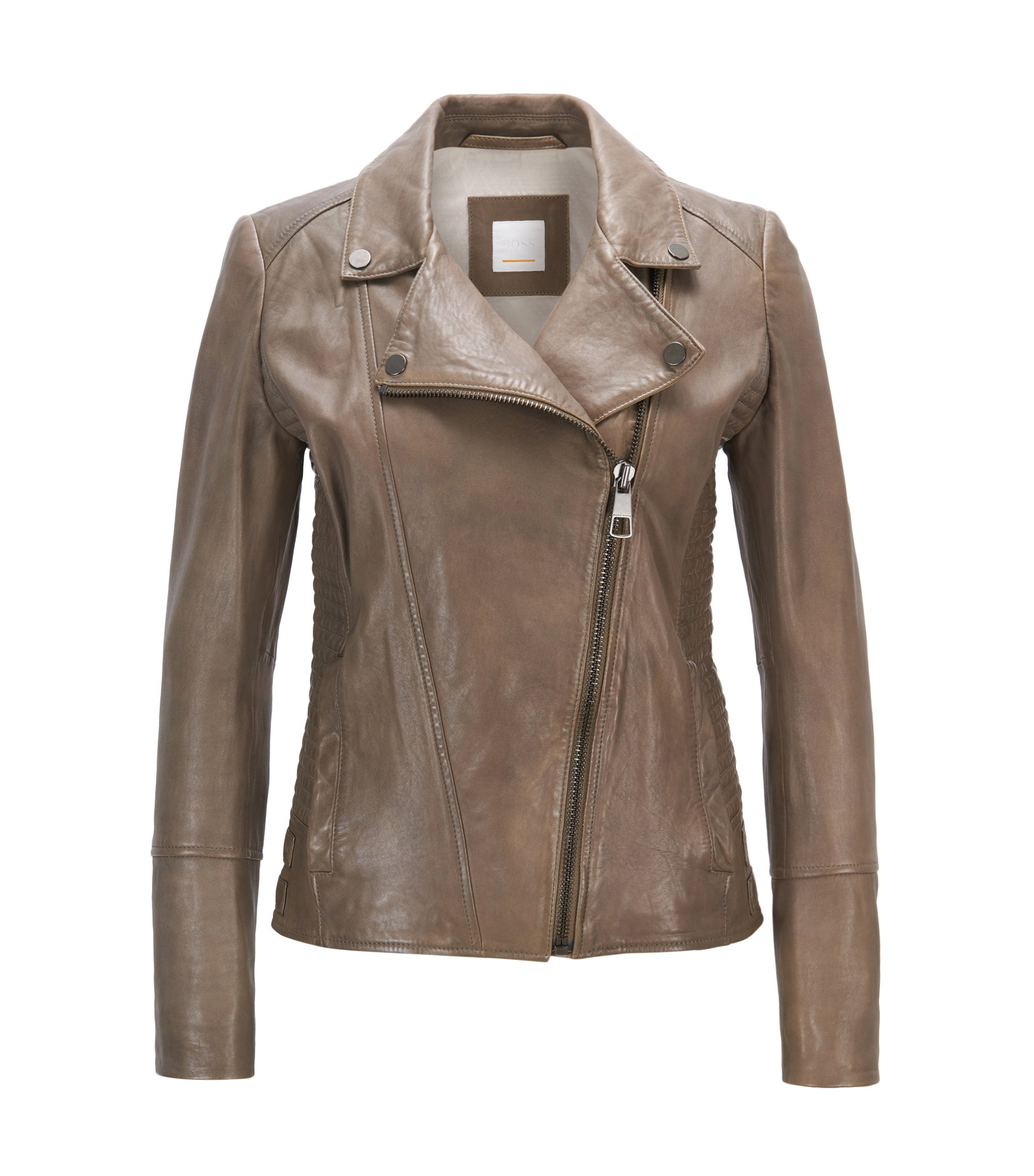 Regular-fit leather jacket with asymmetric zip, Khaki