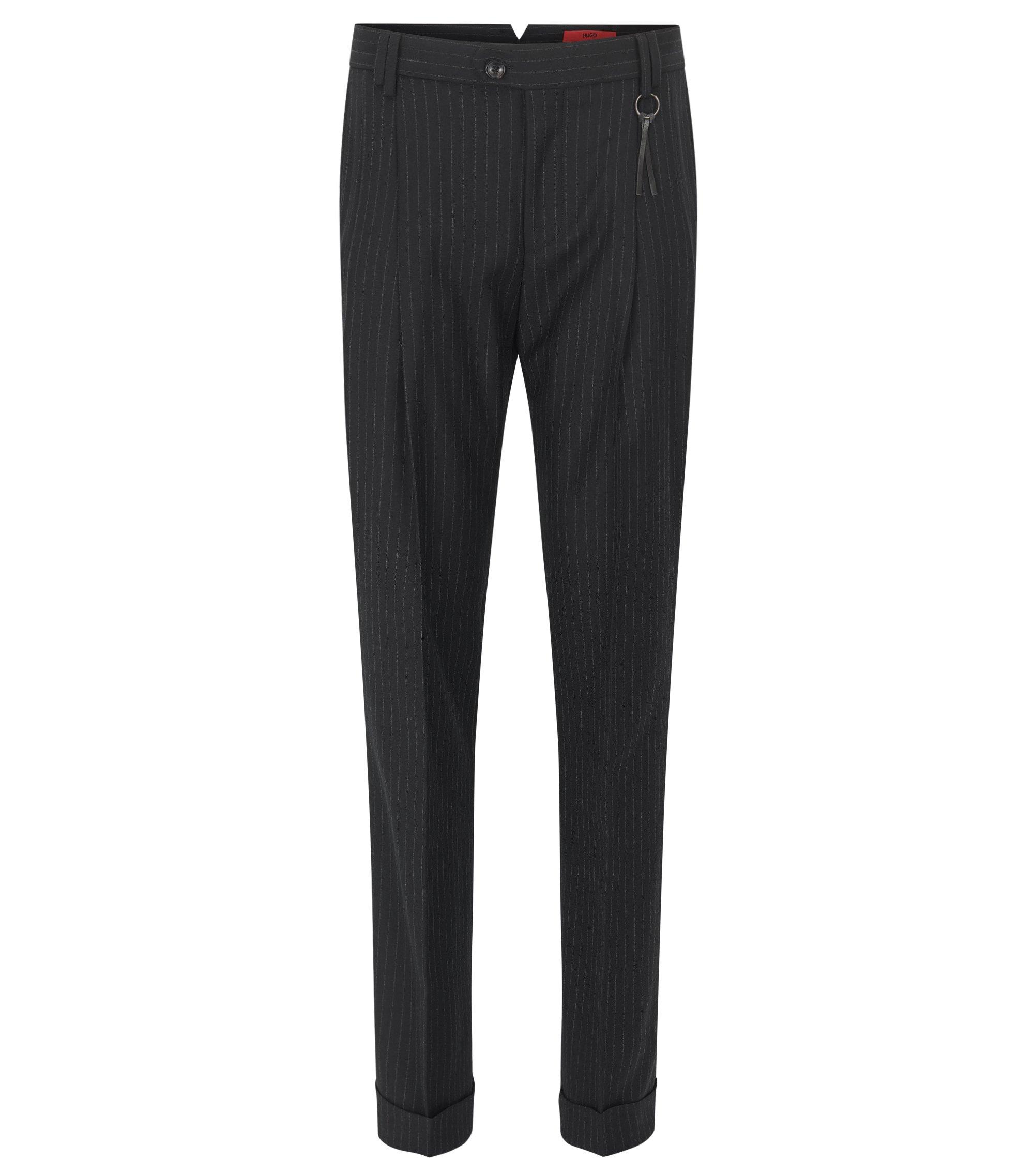 Pantalones relaxed fit en lana virgen con raya diplomática, Negro