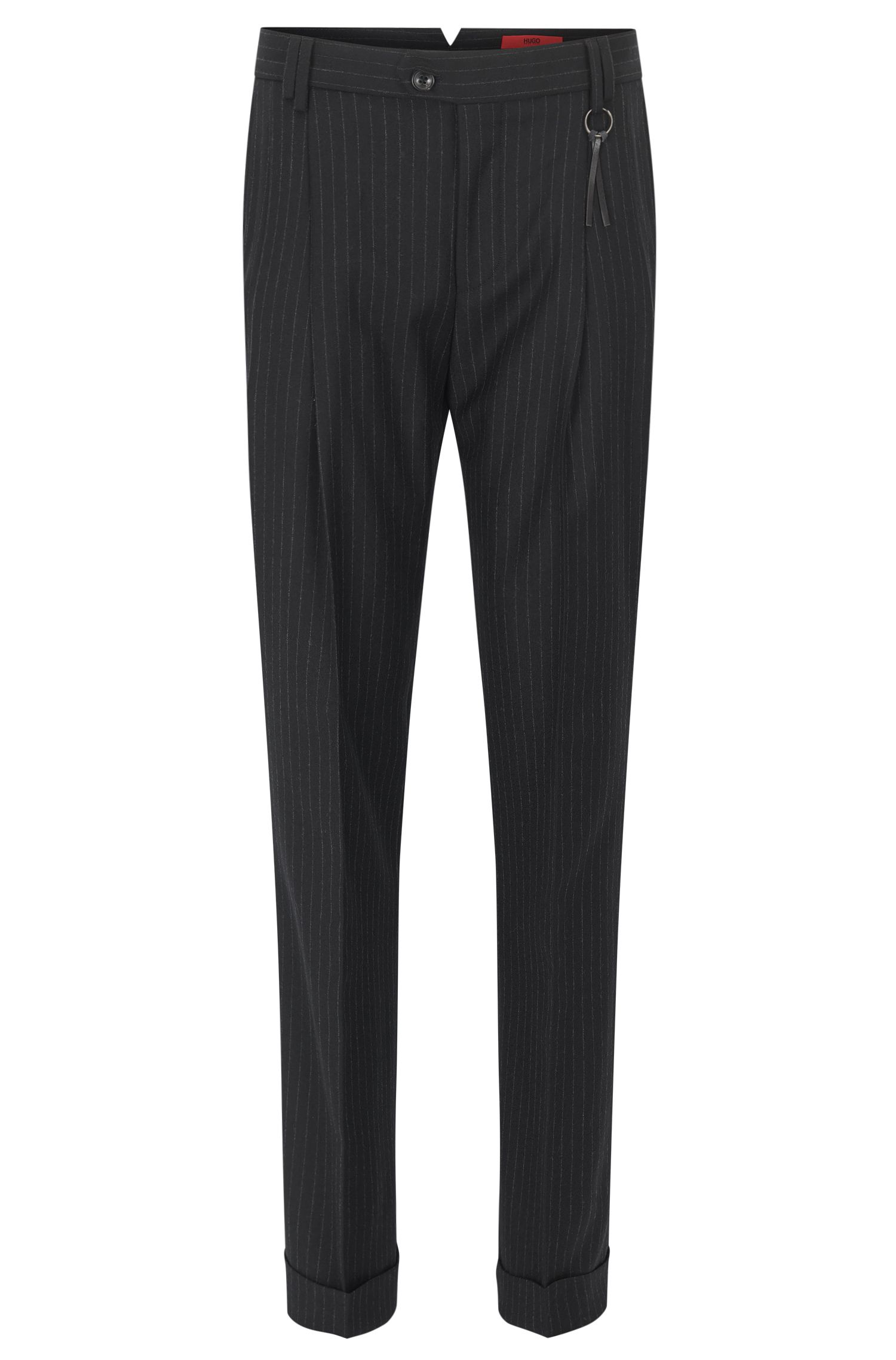 Pinstripe slim-fit trousers in virgin wool
