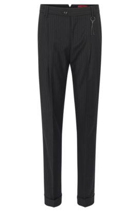 Pantalon Relaxed Fit en laine vierge à rayures tennis, Noir