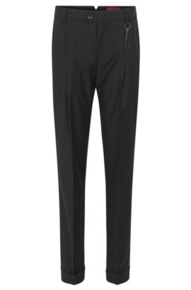 Pinstripe slim-fit trousers in virgin wool, Black