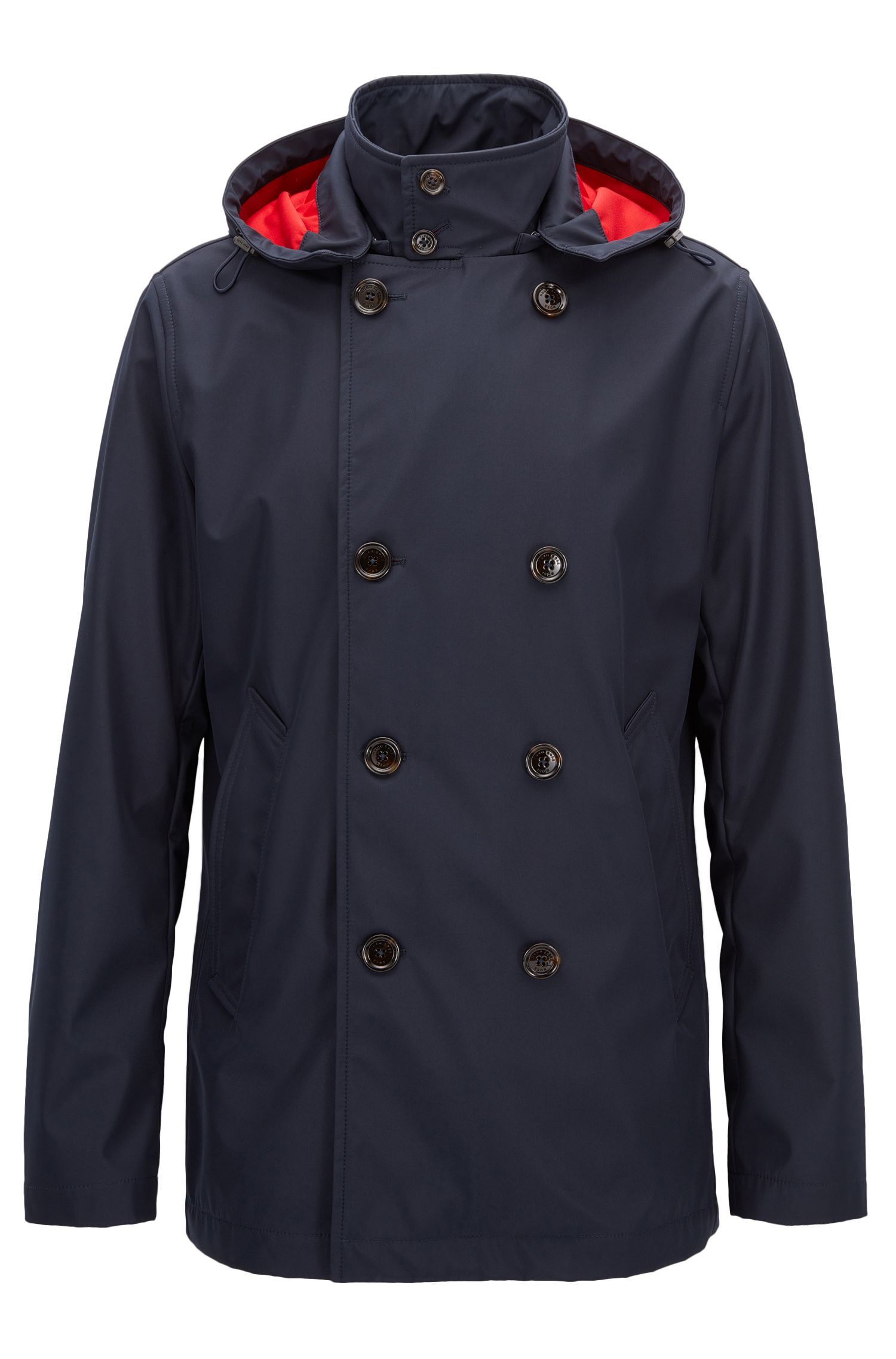 Cappotto regular fit in tessuto tecnico idrorepellente