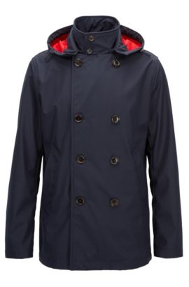 Regular-fit coat in water-repellent technical fabric, Dark Blue