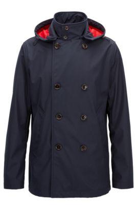 Manteau Regular Fit en tissu technique imperméable, Bleu foncé