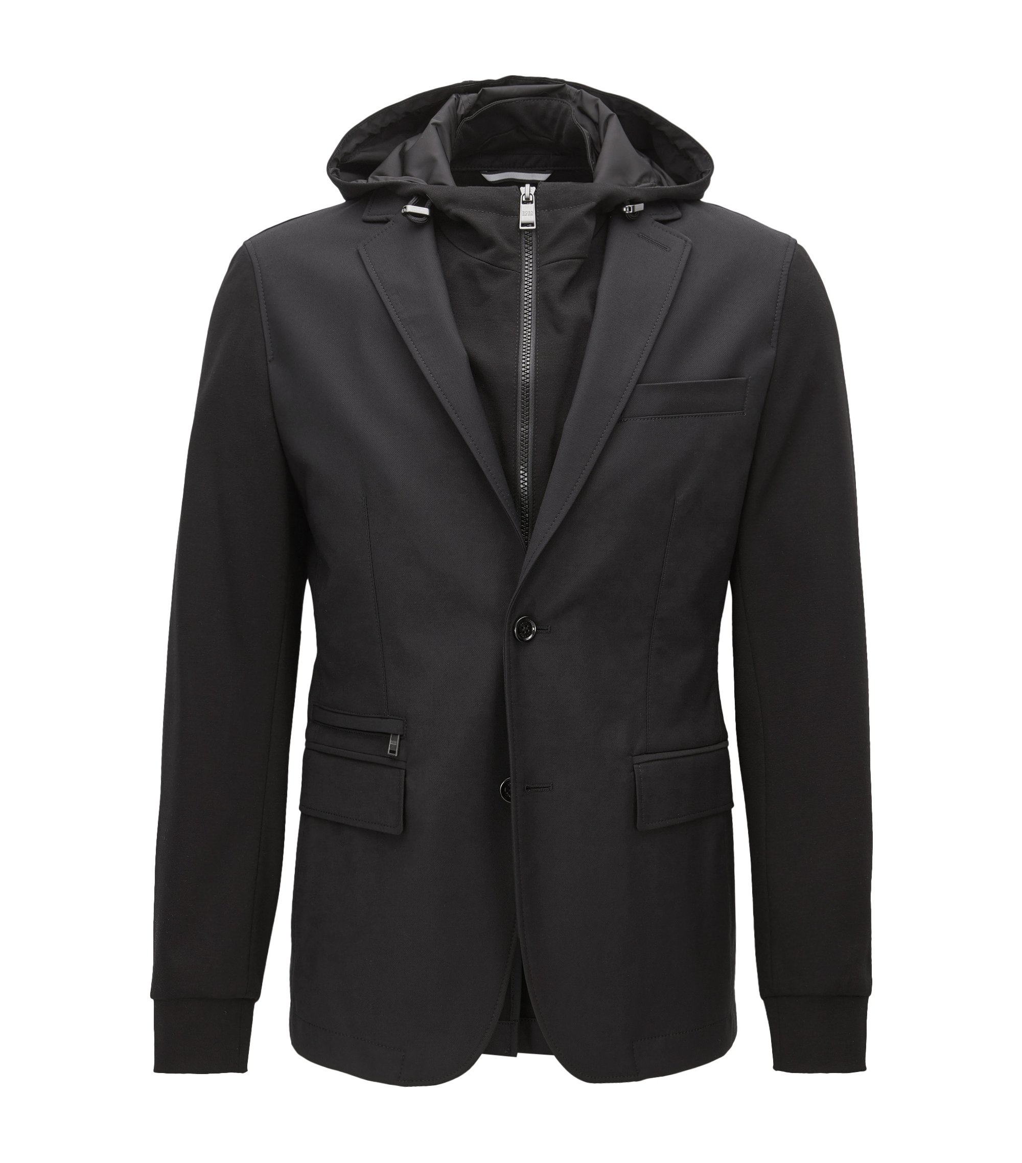 Slim-fit blazer in a technical cotton-rich fabric, Black