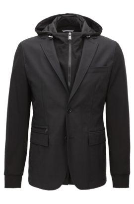 Slim-fit blazer in a technical cotton-rich fabric, Black