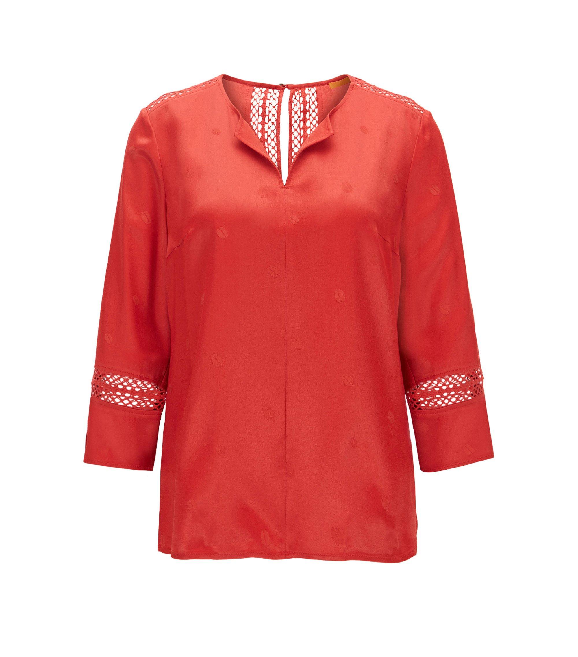 Top im Tunika-Stil aus Material-Mix mit Wolle mit Häkel-Details, Rot