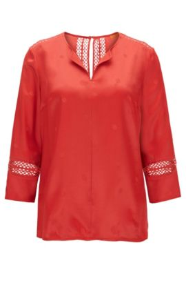Top estilo túnica con detalles de ganchillo, Rojo