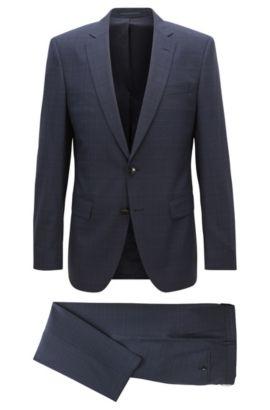 Slim-fit checked suit in virgin wool, Dark Blue