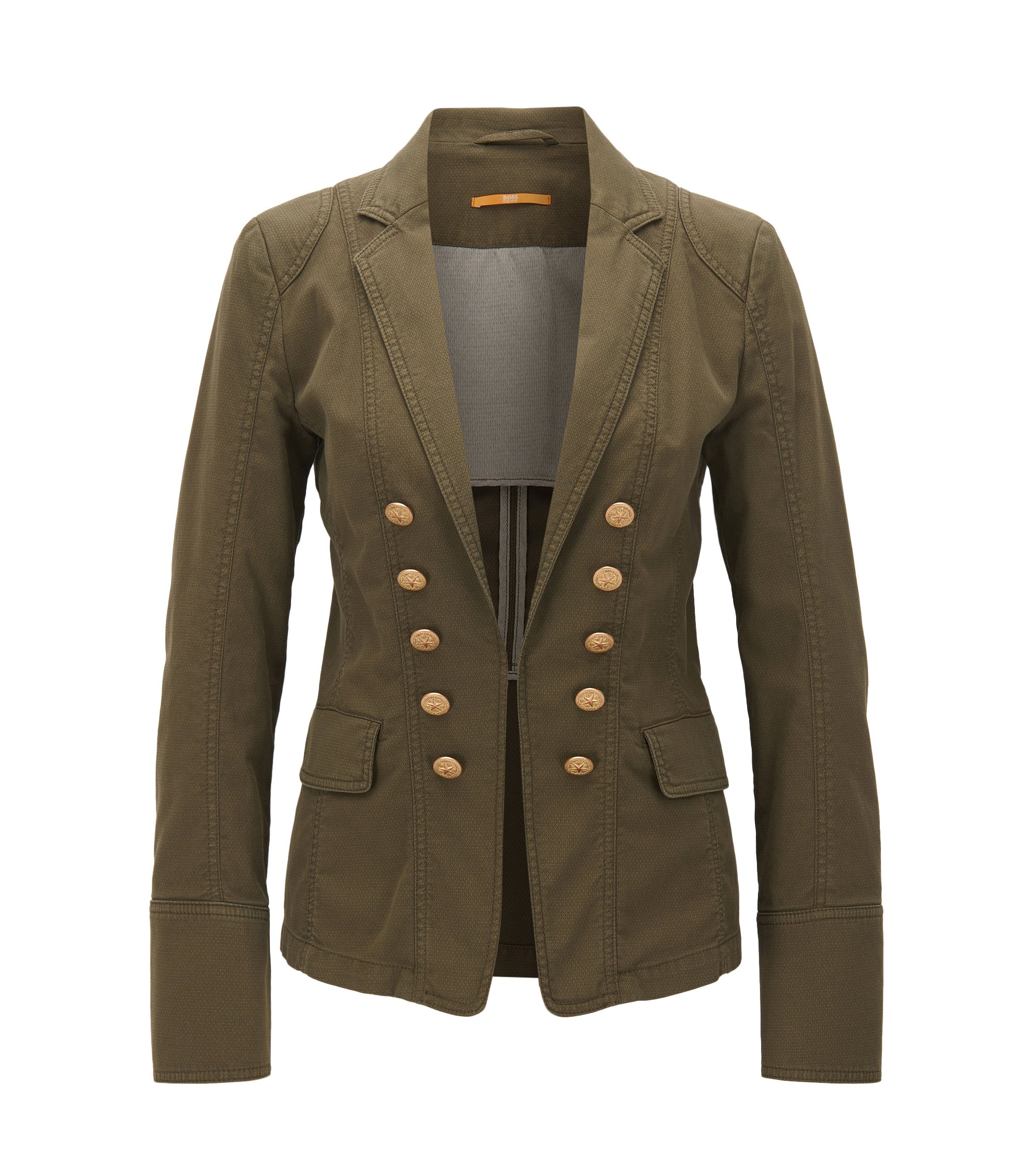 Regular-Fit Blazer im Workwear Look aus strukturierter Stretch-Baumwolle, Khaki