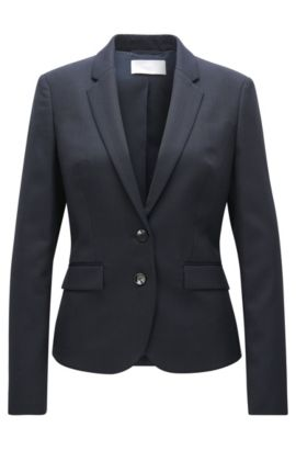 Regular-fit jacket in stretch virgin wool, Patterned