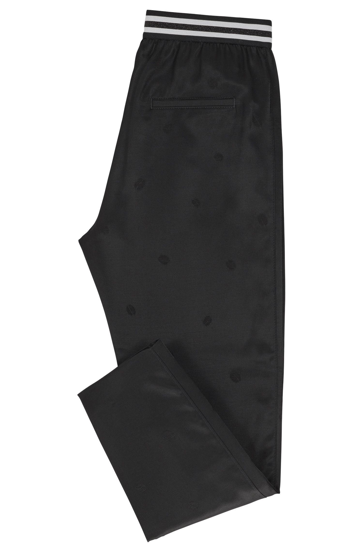 Regular-Fit Hose aus Satin mit Jacquard-Muster