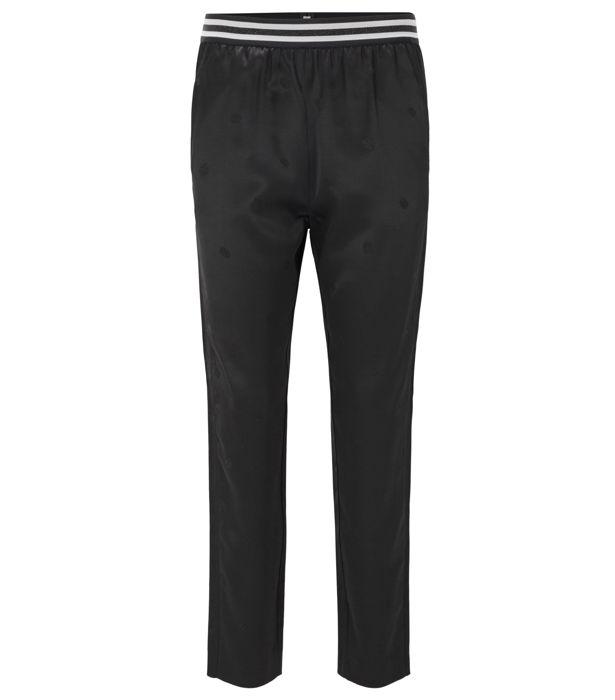 Pantaloni regular fit in satin con motivo jacquard, Nero